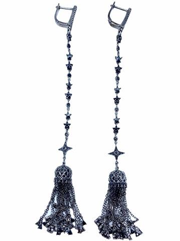 4639 - Серьги-кисточки из серебра в черном родаже с черными цирконами