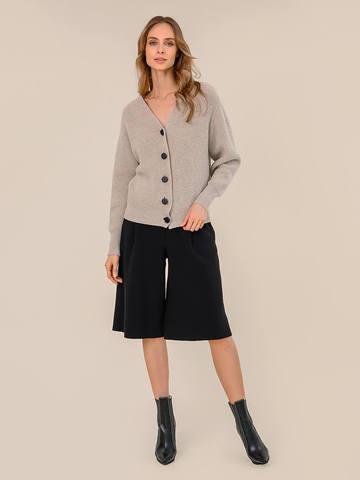 Женская юбка-брюки черного цвета из шерсти - фото 2