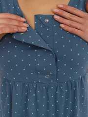 Мамаландия. Сорочка для беременных и кормящих с кнопками, звезды/серо-синий