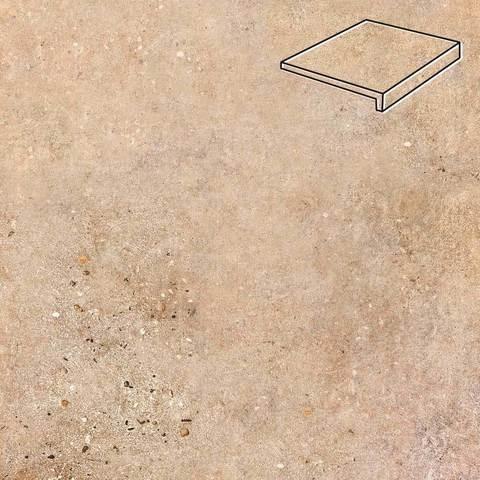 Stroeher - Gravel Blend 961 brown 294x175x52x10 артикул 4817 - Клинкерная ступень, прямой угол