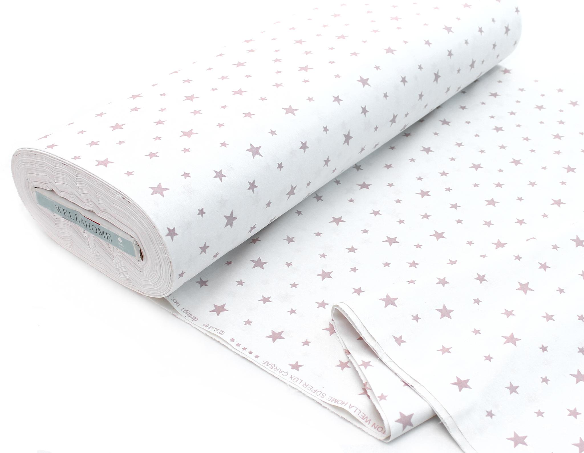 Звезды мелкие пудровые на белом,240 см