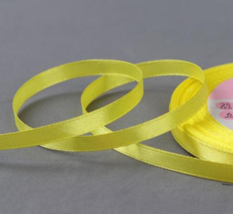 Лента атласная,цвет жёлтый, 6мм*23±1м