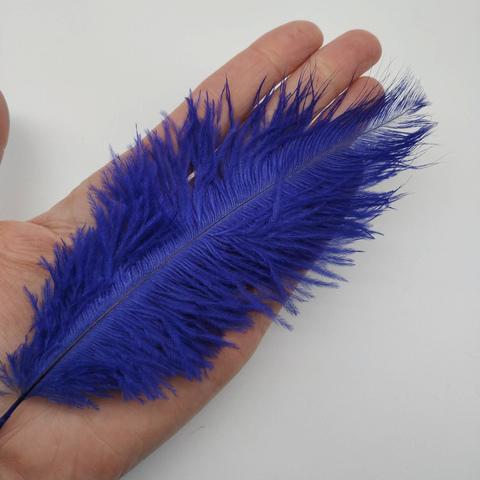 Перья страуса  декоративные  15-20 см. 50 шт, синий затемненный