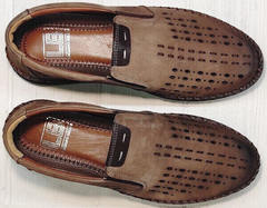 Коричневые мокасины туфли мужские натуральная кожа стиль смарт кэжуал летние Luciano Bellini 91737-S-307 Coffee.