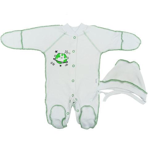 Папитто. Комплект для новорожденных комбинезон и чепчик Планетки, салатовый, р. 50