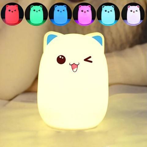 Силиконовый RGB светильник-ночник котик с пультом управления голубой