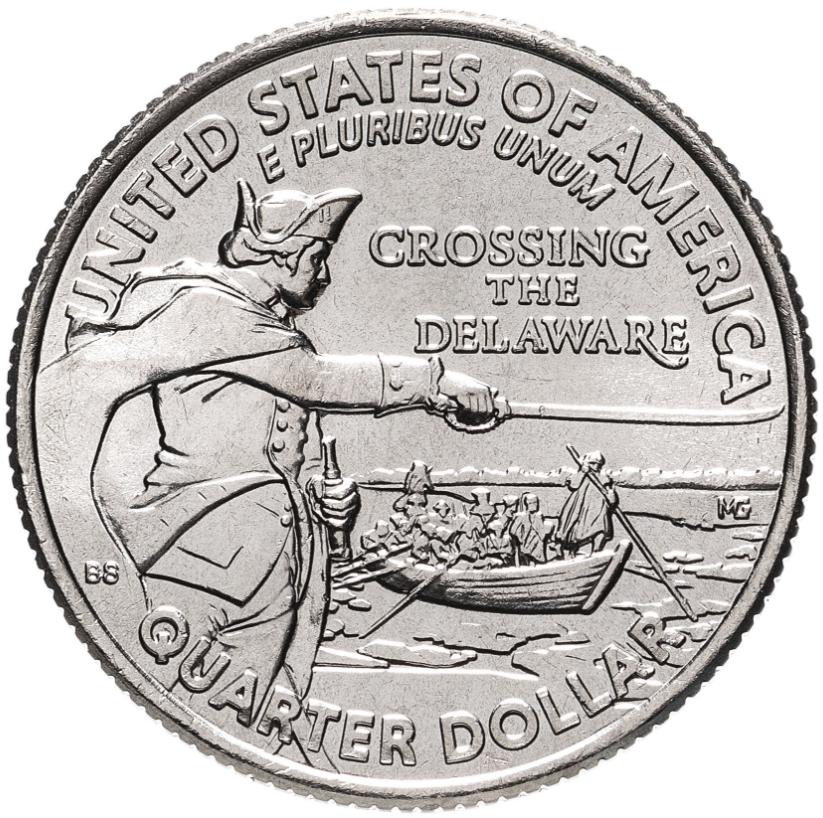 1/4 доллара (25 центов, квотер)   2021г   США Генерал Джордж Вашингтон переправляется через р. Делавэр  двор P