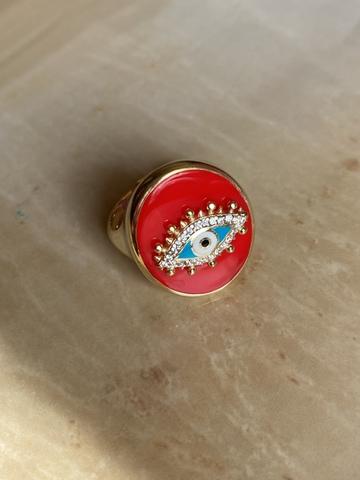Кольцо-печатка Око красное, позолота