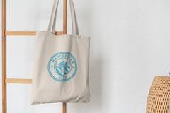 Сумка-шоппер с принтом FC Manchester City (ФК Манчестер Сити) бежевая 005