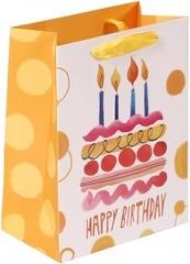 Пакет подарочный, С Днем Рождения (торт и свечи), Желтый, 23*18*10 см, 1 шт.