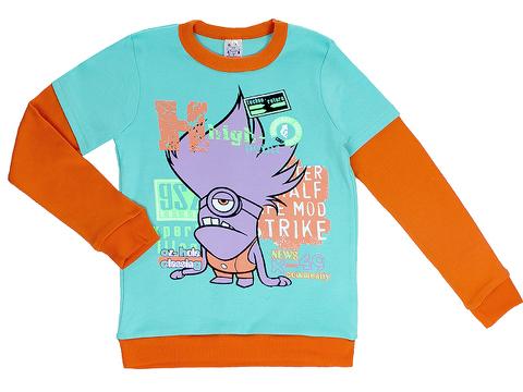 M-028-10 футболка для мальчиков дл. рукав, бирюзовая
