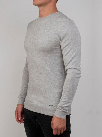 Мужской джемпер цвета серый меланж из шерсти и шелка - фото 1