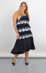 Енола. Плаття-сарафан великого розміру з мереживом. Чорний.