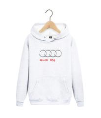 Толстовка белая с капюшоном (худи, кенгуру) и принтом Ауди RS5 (Audi RS5) 0010