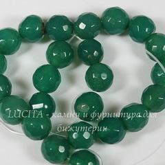 Бусина Агат (тониров), шарик с огранкой, цвет - темно-зеленый, 8 мм, нить
