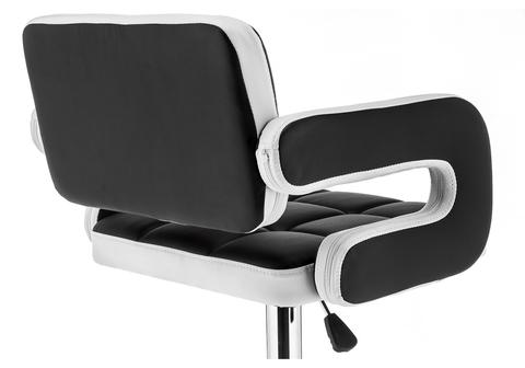 Барный стул Bent черный / белый 59*59*92 Хромированный металл /Черный / белый