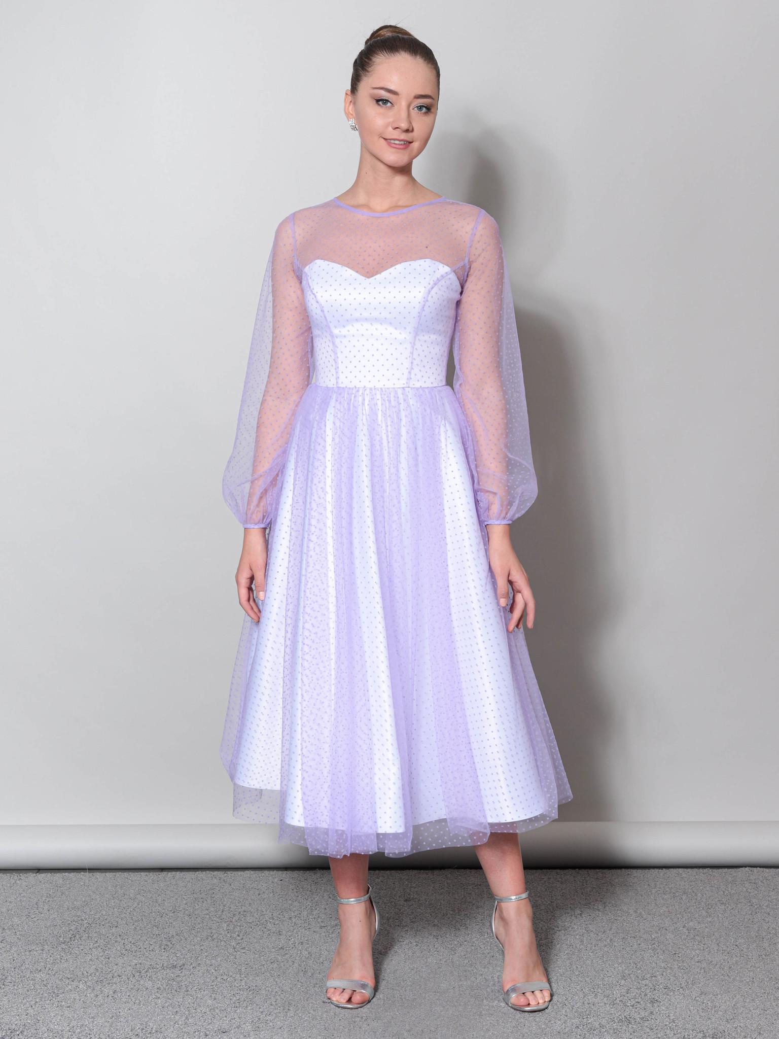 Свадебное платье с объемными рукавами из фатины (белый-лаванда)