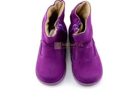 Полусапожки демисезонные Тотто из натуральной кожи на байке для девочек, цвет фиолетовый. Изображение 9 из 13.