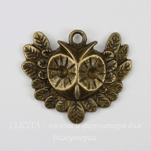 "Подвеска ""Сова"" (цвет - античная бронза) 35х31 мм"