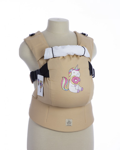 Эрго-рюкзак ТеддиСлинг Единорог с пончиком бежевый без кармана