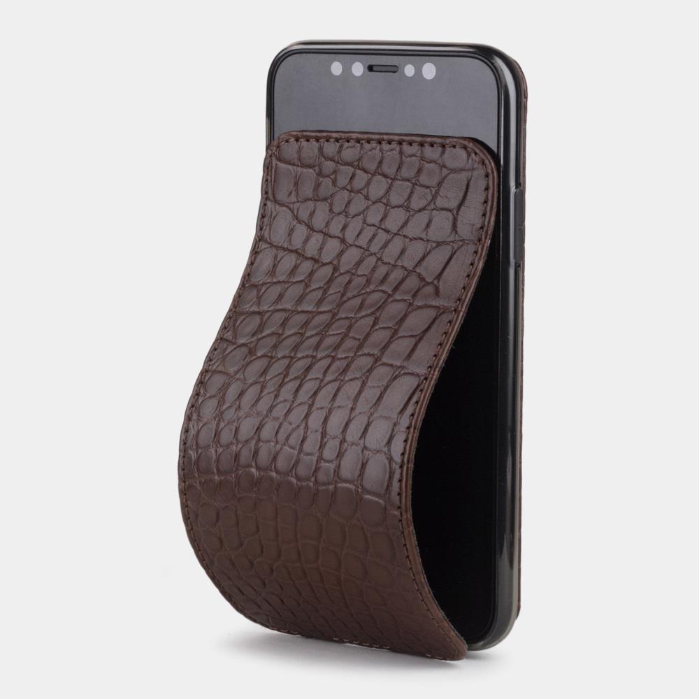 Чехол для iPhone X/XS из натуральной кожи аллигатора, коричневого цвета
