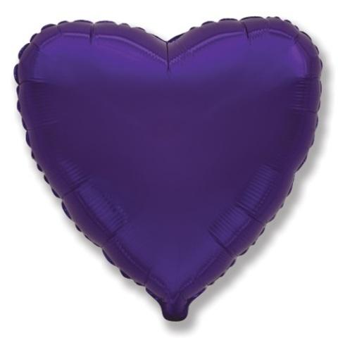 Воздушный шар сердце большое, Фиолетовый, 81 см
