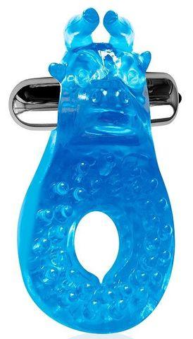 Голубое эрекционное виброкольцо с шипиками