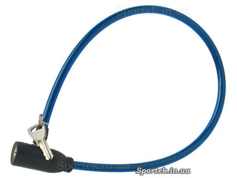 Велозамок с ключом на стальном тросе 6 х 540 мм с виниловым покрытием синего цвета