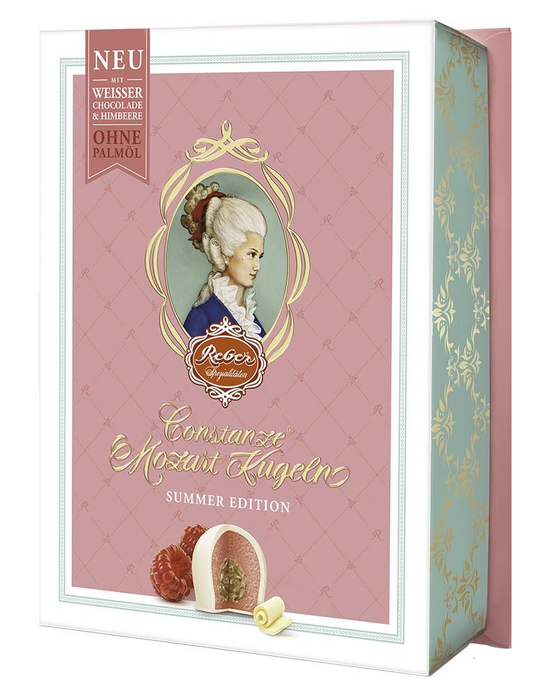 Конфеты Reber Шоколадные из Белого Шоколада с Ореховым Пралине, Марципаном и Малиновой Начинкой 120 гр.