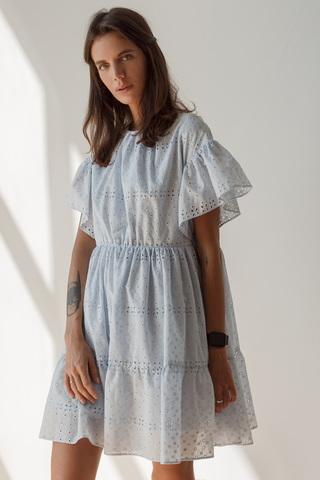 Платье мини с воланами, голубой