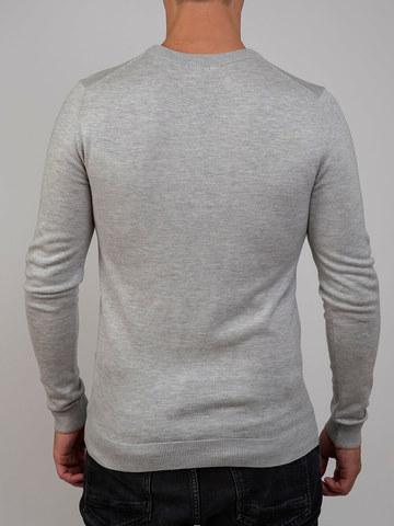 Мужской джемпер цвета серый меланж из шерсти и шелка - фото 3