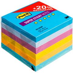 Стикеры Post-it Super Sticky Воздух 76x76 мм неоновые 5 цветов (6 блоков по 90 листов)