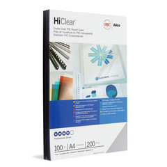 Обложки для переплета пластиковые GBC А4 200 мкм прозрачные глянцевые (100 штук в упаковке)