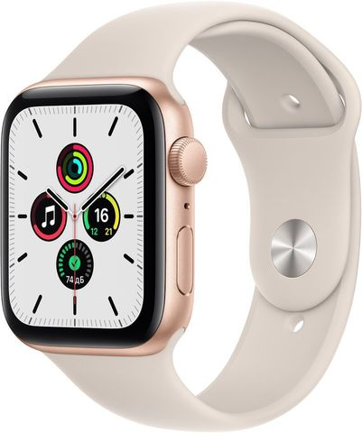 Часы Apple Watch SE GPS 44mm Aluminum Case with Sport Band Золотистый / сияющая звезда 2021 (MKQ53RU/A)