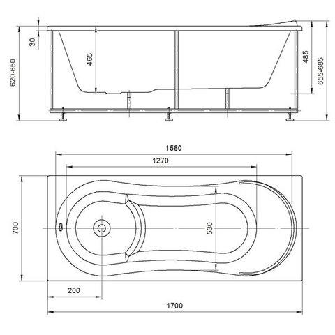Ванна акриловая Aquatek Афродита 170х70см. на каркасе и сливом-переливом. схема