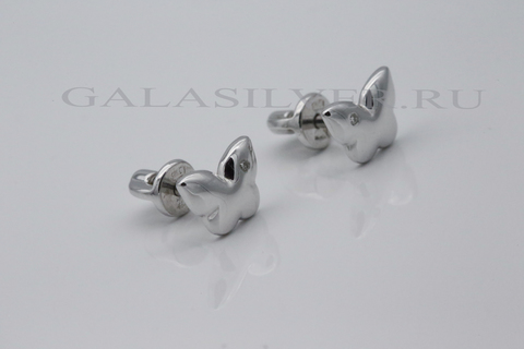 Серьги с бриллиантами из серебра 925