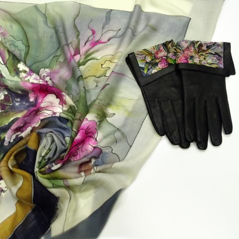 Комплект платок и перчатки Пионы и дым