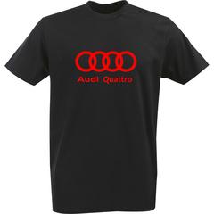 Футболка с однотонным принтом Ауди (Audi Quattro) черная 0033
