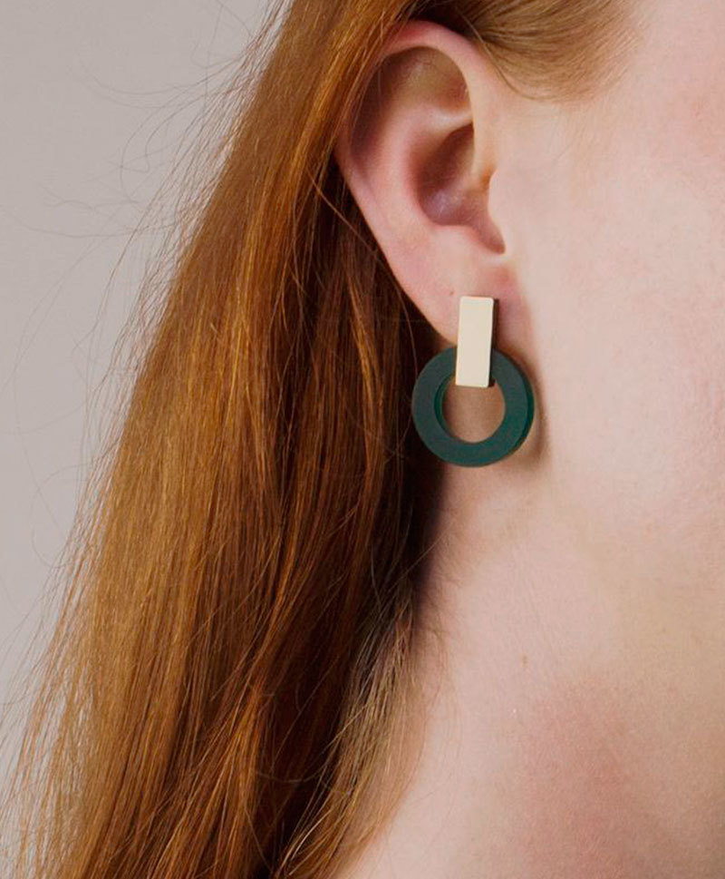 Серьги Orbit Earrings Dark Green