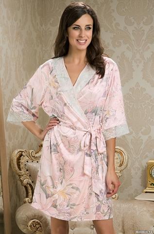Короткий шелковый халат –кимоно EDEM (70% шелк)