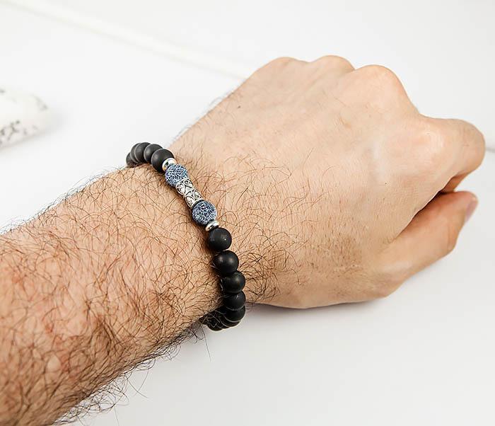 BS624 Мужской браслет ручной работы из шунгита и африканского агата фото 07
