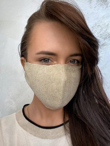 Женская гигиеническая трикотажная маска золотого цвета - фото 2