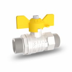 Кран шаровый латунный для газа LD Pride (11б27п) НхН (штуцер-штуцер) бабочка никелированный