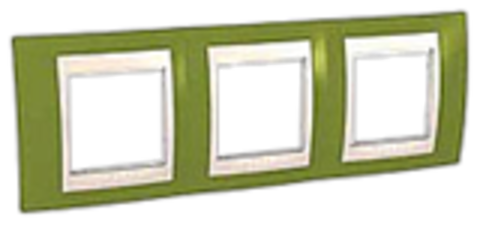 Рамка на 3 поста. Цвет Фисташковый/Бежевый. Schneider electric Unica Хамелеон. MGU6.006.566