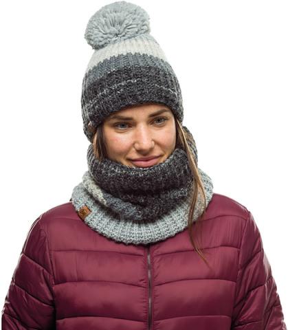 Комплект вязаный шапка-шарф Buff Knitted Polar Alina Grey фото 1