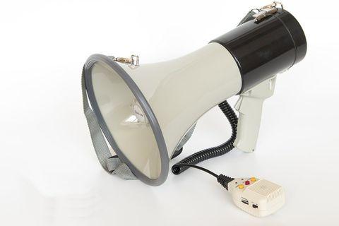 MG-220REC/black ручной мегафон 25Вт (50Вт), сирена, запись/воспроизведение 20 сек, разъем 12В