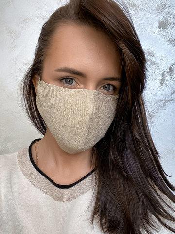 Женская гигиеническая трикотажная маска золотого цвета - фото 1