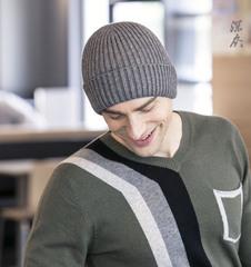 Вязаная повседневная мужская шапка из кроличьей шерсти (Осенне-зимняя шапка) серая