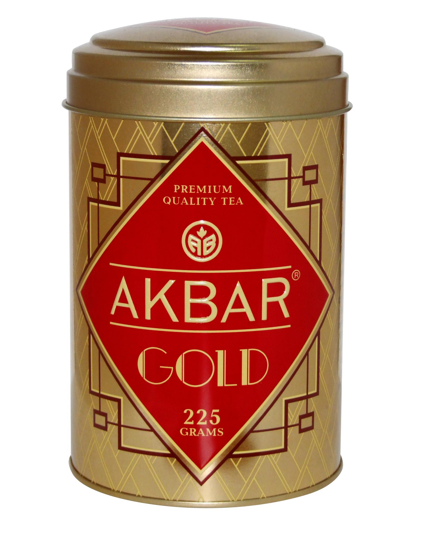 АКБАР GOLD, черный байховый цейлонский чай, жестяная банка, 225 гр.