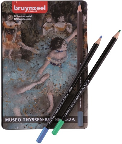 Набор пастельных карандашей Thyssen 'Танцовщица в зеленом' Дега 12 цветов в металлической упаковке